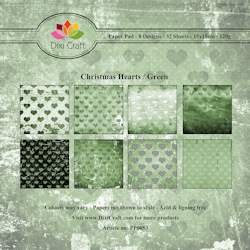 Dixi Craft - Paperpack - Christmas Hearts: Green - PP0053