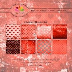 Dixi Craft - Paperpack - Christmas Hearts: Red - PP0051
