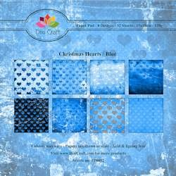 Dixi Craft - Paperpack - Christmas Hearts: Blue - PP0052