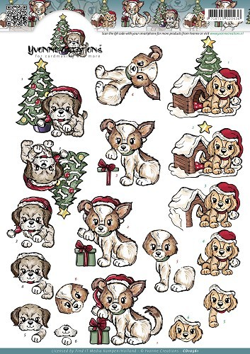 Yvonne Creations - 3D-knipvel A4 - Christmas Puppies - CD10561