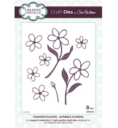 Creative Expressions - Die - The Finishing Touches Collection - Scribble Flowers