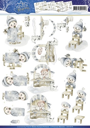 Card Deco - Precious Marieke - 3D-knipvel A4 - Winter Wonderland - Winter fun