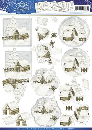 Precious Marieke - 3D-knipvel A4 - Winter Wonderland - Snow cabins - CD10576