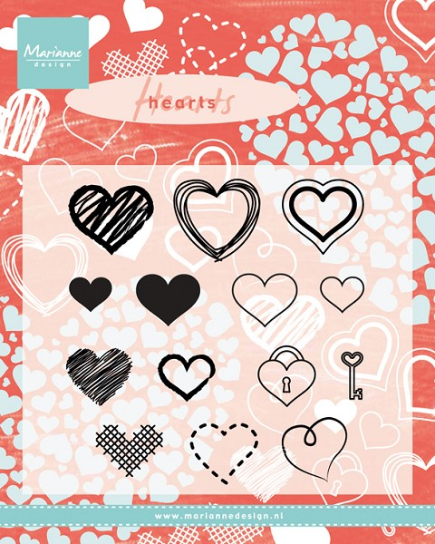 Marianne Design - Clearstamp - Hearts - CS0950