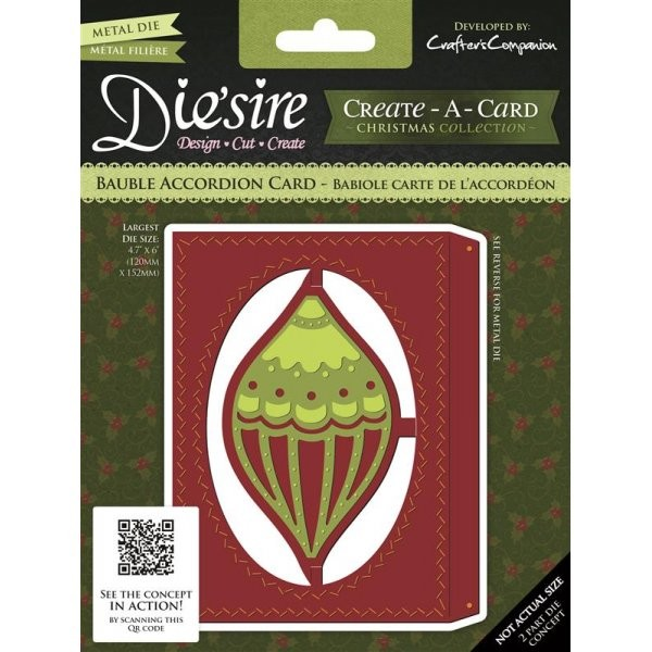 Die`sire - Die - Create-A-Card - Bauble Accordion Card -DS-CADA-BAUB