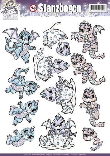 Yvonne Creations - (3D-)stansvel A4 - Magical Winter - Dragons - SB10075