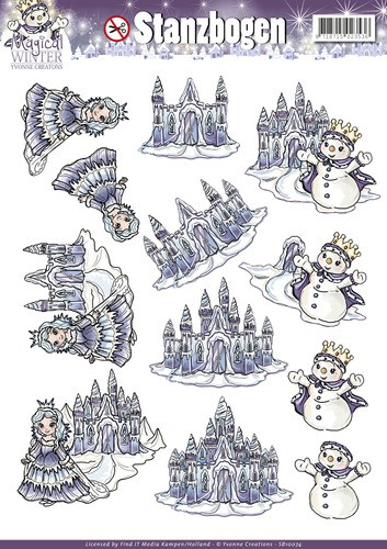 Yvonne Creations - Uitdrukvel A4 - Magical Winter - Ice Castles - SB10074