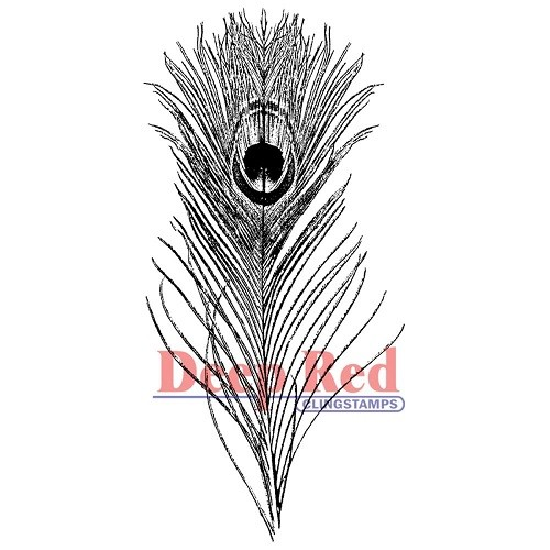 Deep Red - Cling Stamp - Peacock Feather - 3X405032