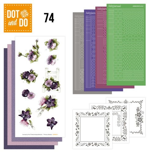 Card Deco - Kaartenpakketten - Dot & Do - No. 74 - Purple Flowers - DODO074