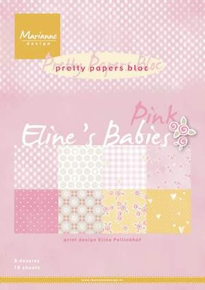 Marianne Design - Paperpack - A4 - Pretty Papers - Eline`s babies: Pink - PB7050