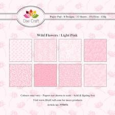Dixi Craft - Paperpack - Wild flowers: Light Pink - PP0056