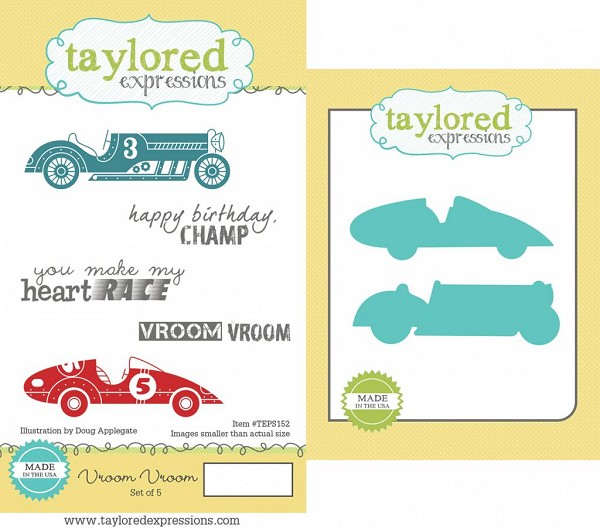 Taylored Expressions - Cling Stamp - Vroom Vroom Stamp & Die Combo - TEPS153