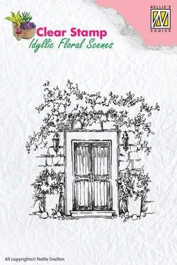 Nellie Snellen - Clearstamp - Idyllic Floral Scenes - Door with flowerpots - IFS001