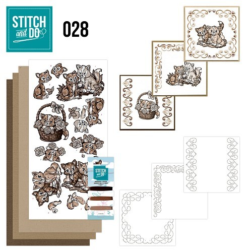 Card Deco - Kaartenpakket - Stitch & Do No. 28 - Brown Cats - STDO028