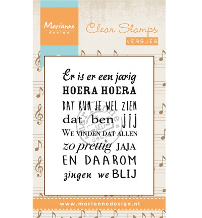 Marianne Design - Clearstamp - Liedje: Er is er een jarig - CS0963