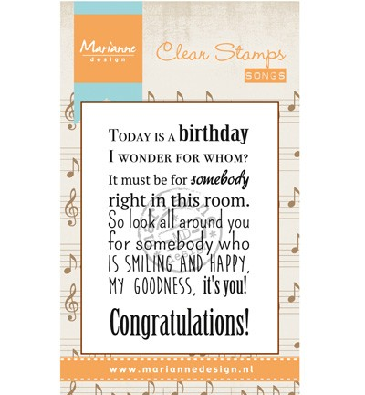 Marianne Design - Clearstamp - Liedje: Today is a birthday - CS0965