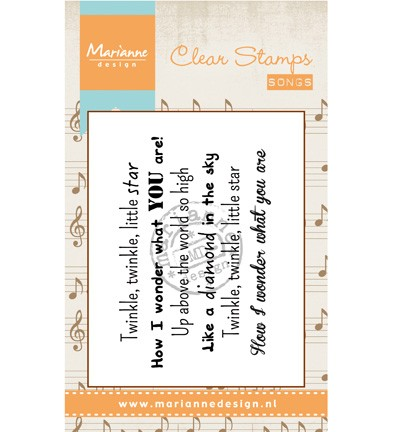 Marianne Design - Clearstamp - Liedje: Twinkle twinkle little star - CS0966