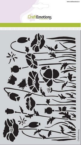 CraftEmotions - Maskingstencil - Poppie Fields - Klaprozen - 185070/1233