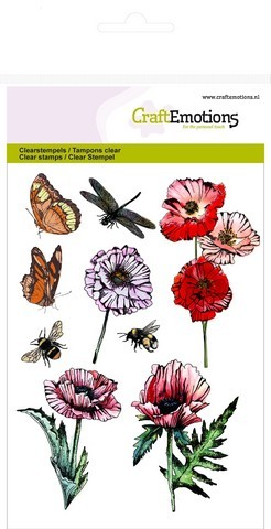CraftEmotions - Clearstamp - Poppie Fields - Butterflies - 130501/1233