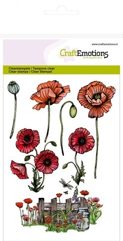 CraftEmotions - Clearstamp - Poppie Fields - Poppies, Fence - 130501/1234