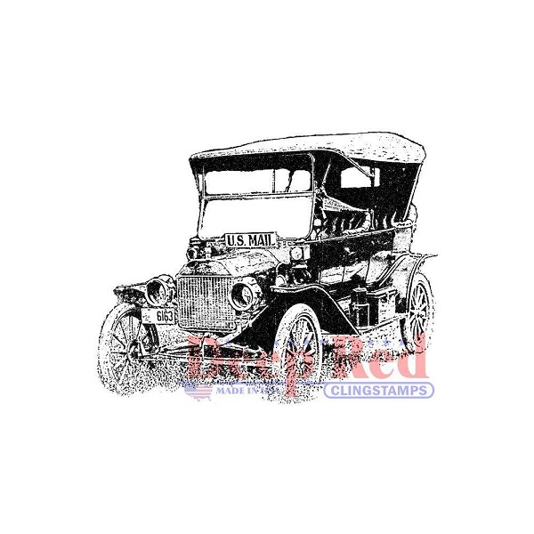 Deep Red - Cling Stamp - Old Mail Truck - 3x405410