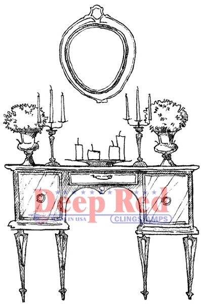 Deep Red - Cling Stamp - Antique Dressing Table - 3X505518