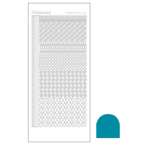 Hobbyjournaal - Stickervel - Hobbydots - Serie 19 - Mirror: Turquoise - STDM19D