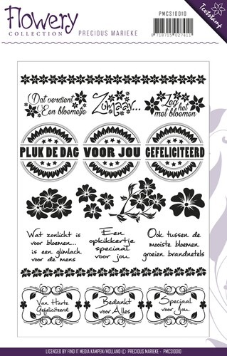 Precious Marieke - Clearstamp - Flowery Collection - Tekst - PMCS10010