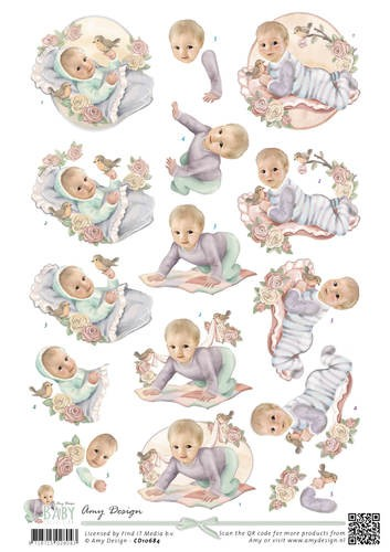 Amy Design - 3D-knipvel A4 - Baby Collection - Vintage Baby - CD10684