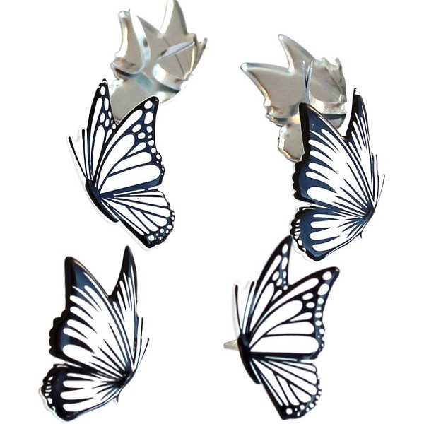 Eyelet Outlet & Brads - Brads - Butterflies: Black / white - 24324