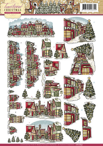 Yvonne Creations - 3D-knipvel A4 - Traditional Christmas - Huisjes - CD10692