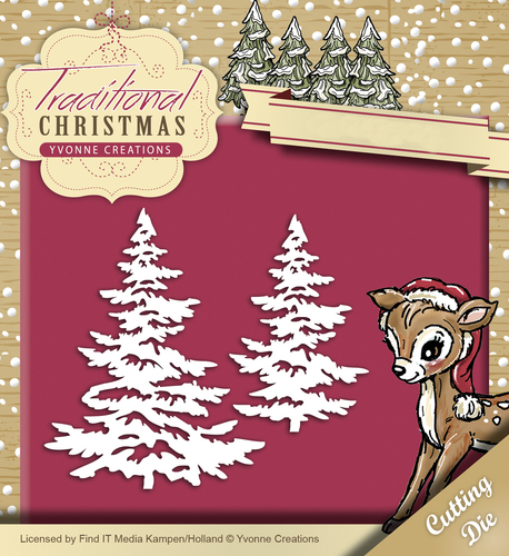 Yvonne Creations - Die - Traditional Christmas - Snowy Tree - YCD10053