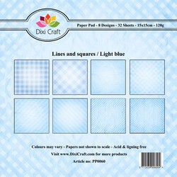 Dixi Craft - Paperpack - Lines and Squares: Light blue - PP0060