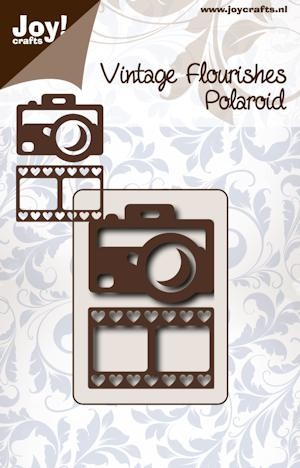 Joy! crafts - Noor! Design - Die - Vintage Flourishes - Polaroid camera met filmstrip hart