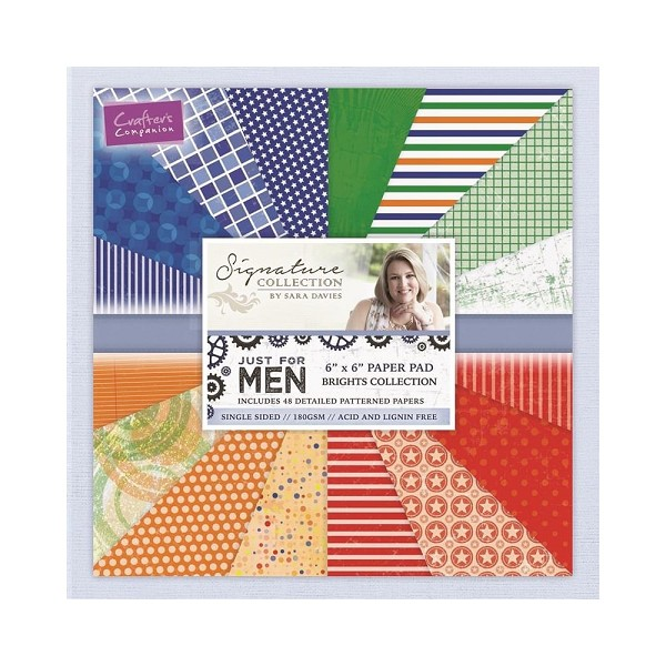 Crafter`s Companion - Sara Davies - Paperpack - Just For Men - Brights Collection - S-MEN-PAD6-BRI