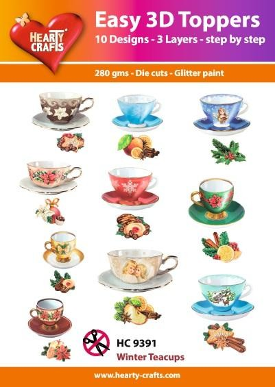 Hearty Crafts - Easy 3D Toppers - Winter Teacups - HC9391