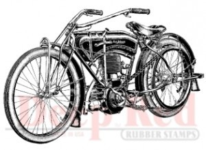 Deep Red - Cling Stamp - Early Motorcycle - 3X504316
