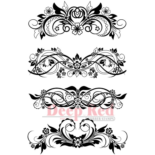 Deep Red - Cling Stamp - Vector Flourishes Set - 5X704293