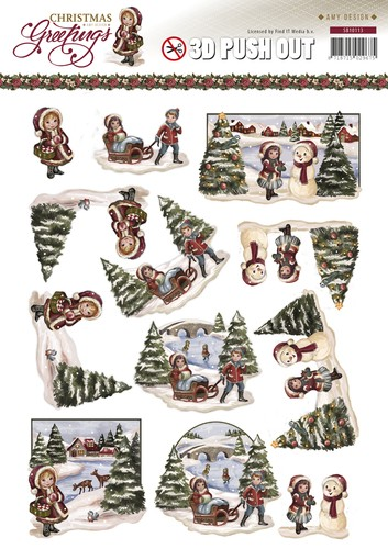 Amy Design - (3D-)stansvel - Christmas Greetings - Kerstlandschap - SB10113