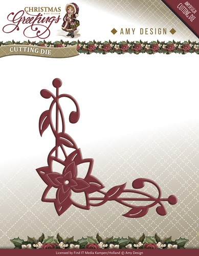 Amy Design - Die - Christmas Greetings - Poinsettia Corner - ADD10071