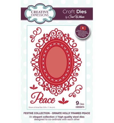 Creative Expressions - Die - The Festive Collection - Ornate Holly Framed Peace