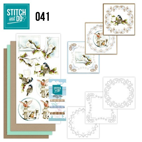 Card Deco - Kaartenpakket - Stitch & Do No. 41 - Kerstvogeltjes - STDO041