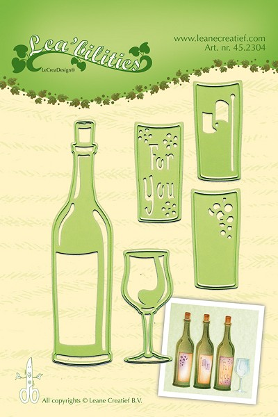 Leane Creatief - Die - Lea`bilitie - Wine bottle & glass