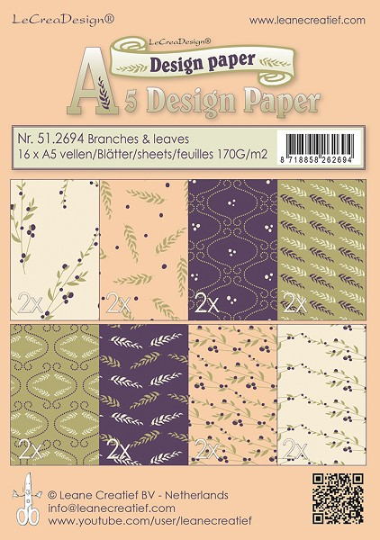 Leane Creatief - Paperpack - Design Paper - Branches & Leaves - 51.2694
