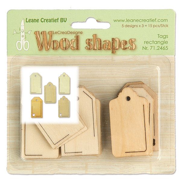 Leane Creatief - Wooden Ornaments - Tags rectangle - 71.2465