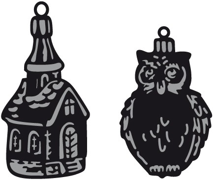 Marianne Design - Die - Craftables - Tiny`s ornaments - Church & Owl - CR1381
