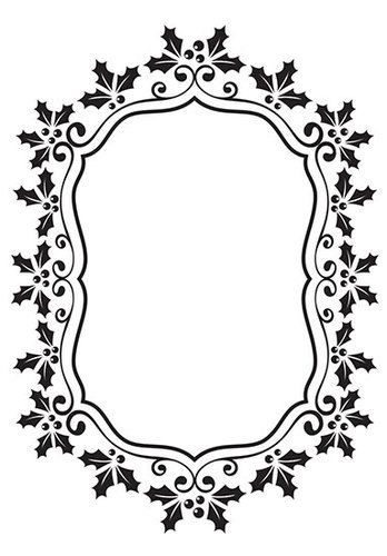 Nellie Snellen - Embossingfolder - Christmas oval holly frame - EFE024