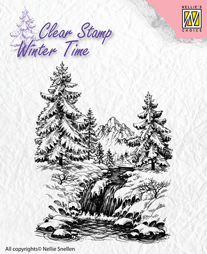 Nellie Snellen - Clearstamp - Winter Time - Winter waterfall - WT004