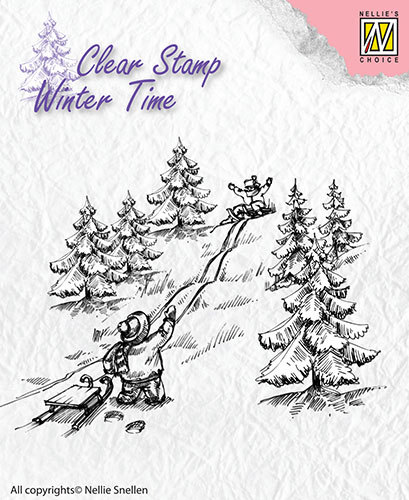 Nellie Snellen - Clearstamp - Winter Time - Sledge fun  - WT003