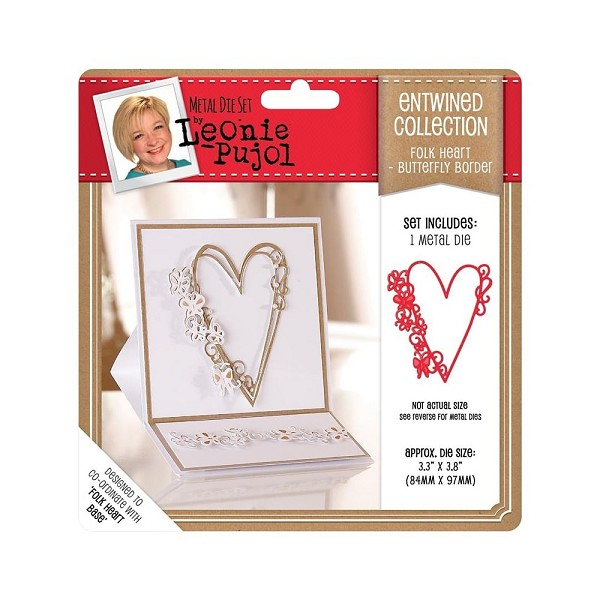 Crafter`s Companion - Die - Leonie Pujol - Entwined Collection - Folk Heart - Butterfly Border